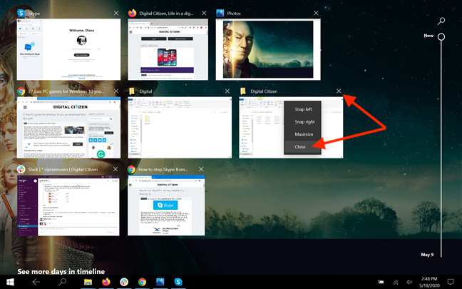 Close apps from Task View in Tablet mode