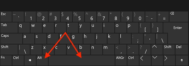 Press the Alt and Space keys simultaneously