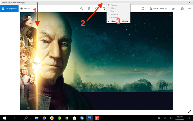 Close an app from its title bar in Tablet mode