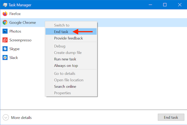 Close apps with the Windows 10 Task Manager