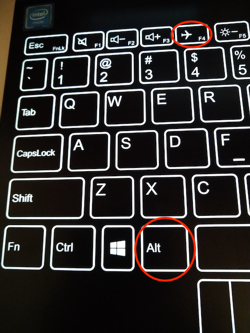 Simultaneously pressing the Alt and F4 keys closes an app