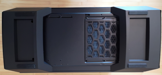 The bottom of the Cooler Master MasterCase MC600P