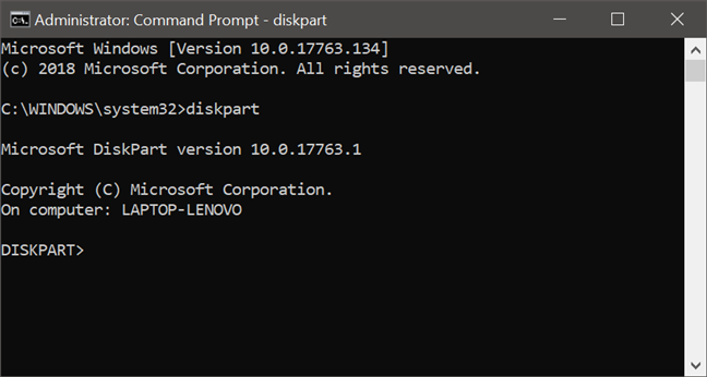 Launching diskpart in Command Prompt