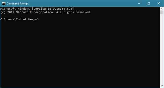 The Command Prompt from Windows 10
