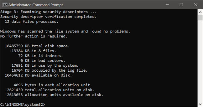 A report from the chkdsk command