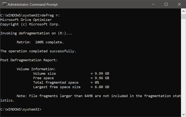 Running defrag to trim an SSD or defragment an HDD