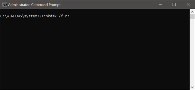 Using the chkdsk command to check a drive for errors