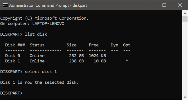 Using diskpart to select the disk on which the following commands are applied to