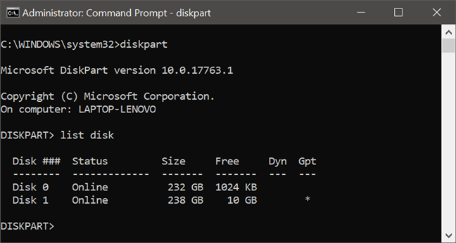 Using diskpart to list the drives from a PC