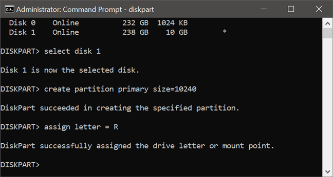 Using diskpart to assign a letter to a partition (unhide a partition)