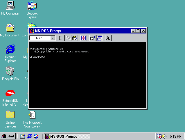 Indicador de MS-DOS en Windows 98 SE