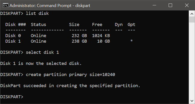 Using diskpart to create a primary partition