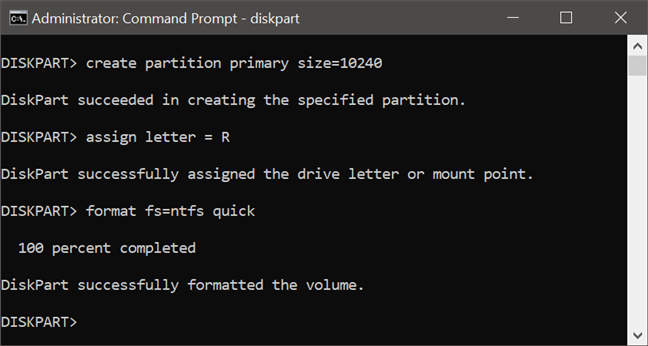 Formatting a partition with diskpart, in Command Prompt