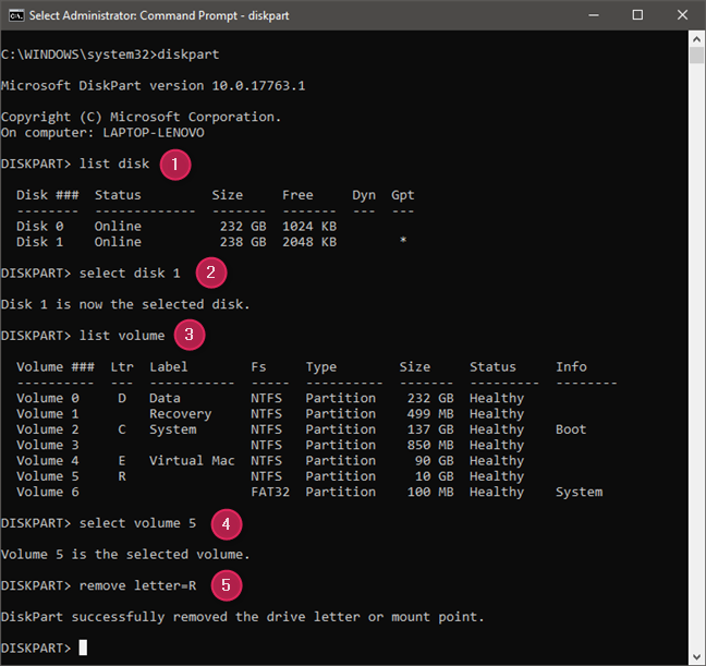 Using diskpart commands to hide a partition by removing its drive letter