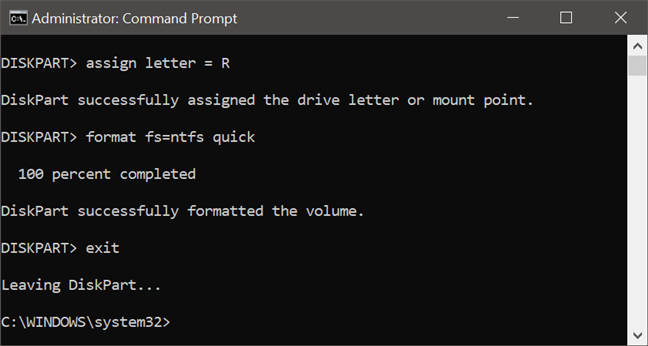 Exiting diskpart in Command Prompt