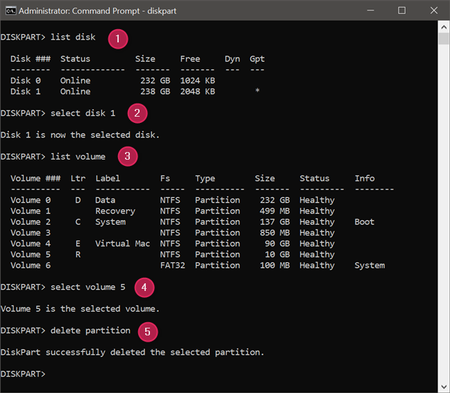 Using diskpart in Command Prompt to delete a partition