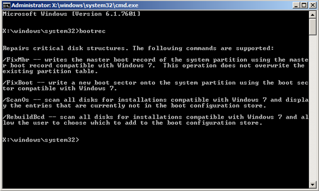 Command Prompt, boot, issues, Bootrec.exe