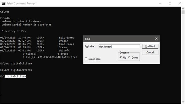 Ctrl + F es el atajo de teclado para el símbolo del sistema que le permite buscar texto