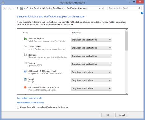 Notification Area, Customize, Windows 7, Windows 8