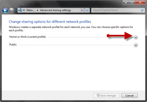 Network Sharing Settings