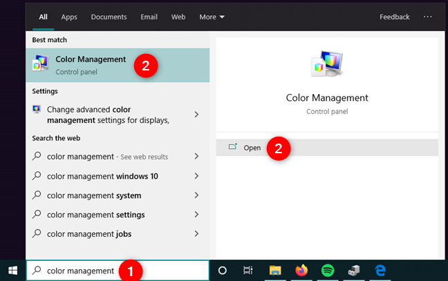 Searching for Color Management in Windows 10