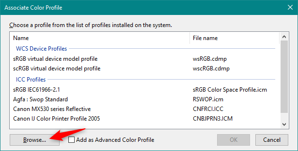Browsing to find the ICM file that stores the color profile