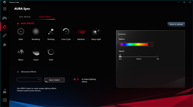 ASUS Aura RGB lighting effects and settings