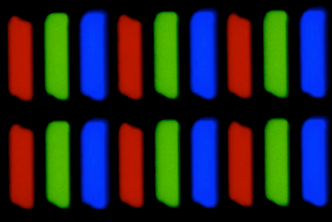 RGB light sources of the pixels on a screen