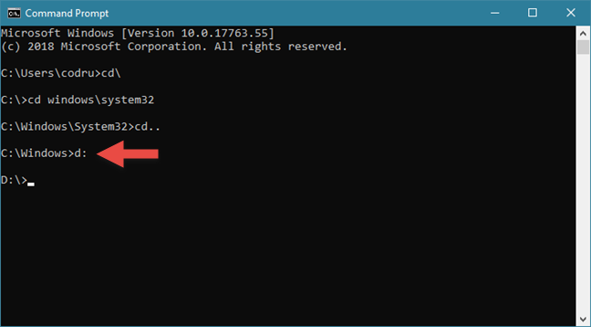 Changing the drive in Command Prompt