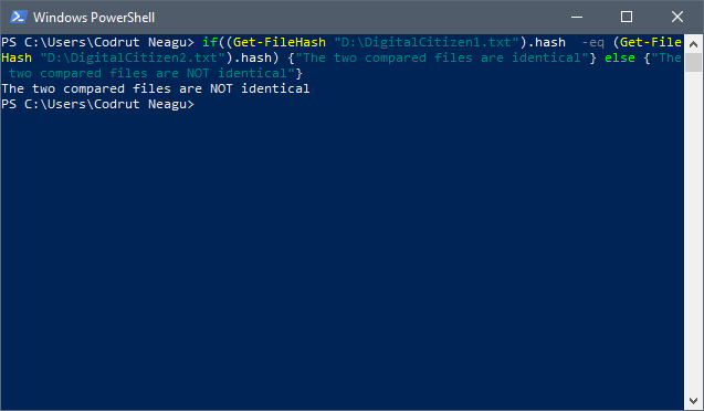 The output you get in PowerShell when the files are different