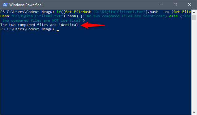 The output you get in PowerShell when the two files are the same