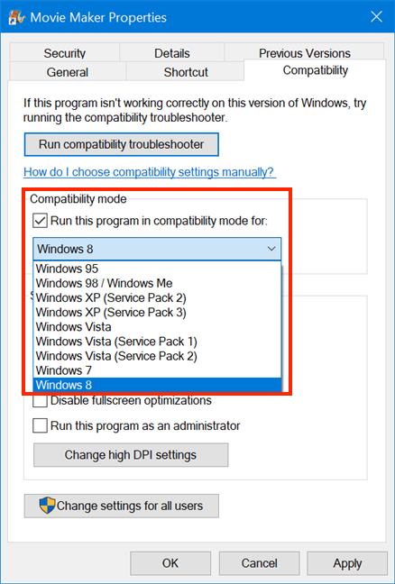 Choose the Windows version your program worked with