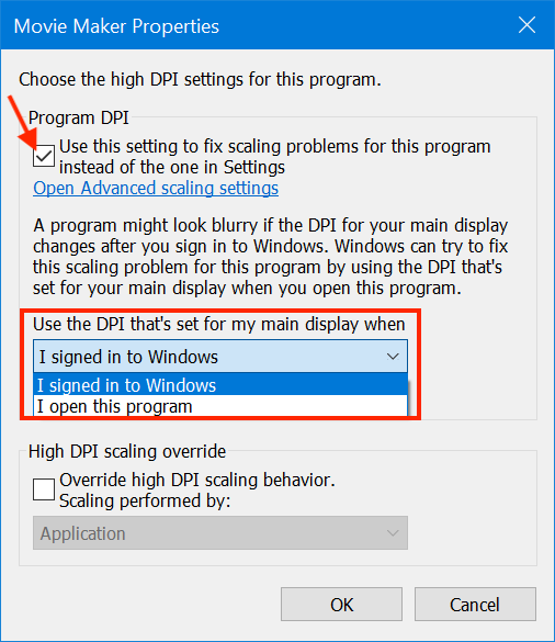 Choose the DPI settings for your program
