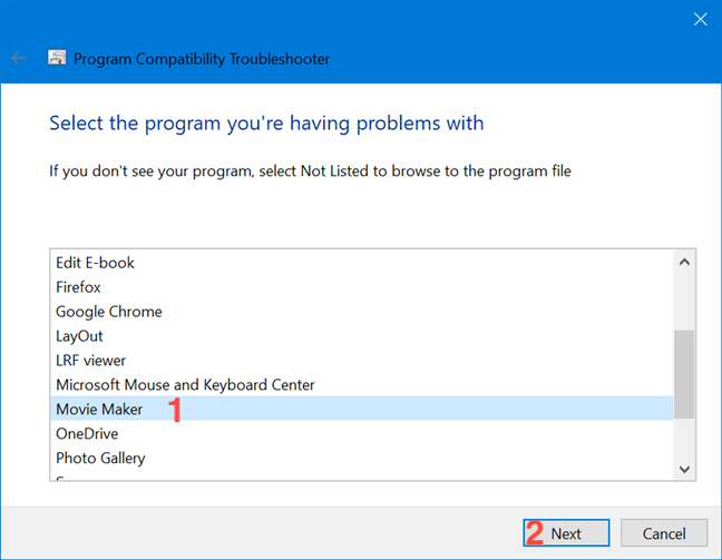 Select your outdated program from the list