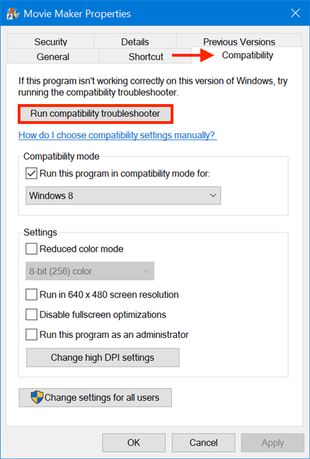 You can also access the Program Compatibility Troubleshooter from Properties