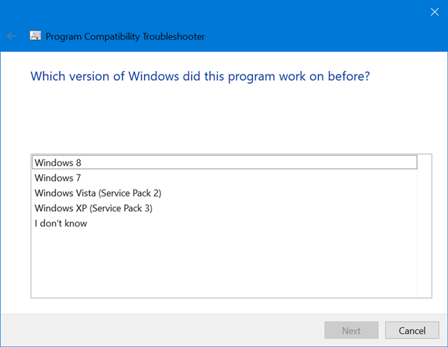 Select the previous Windows version the program worked on