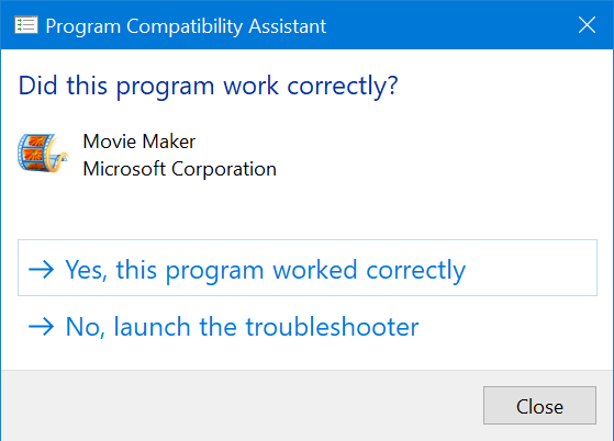 Windows 10 asking for feedback on your new compatibility settings