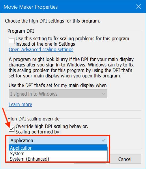 Set the scaling behavior for a blurry program