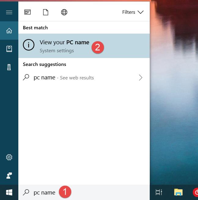 computer name, Windows