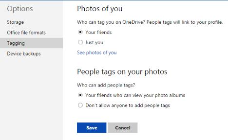 OneDrive, website, configure, storage, format, tag, photo