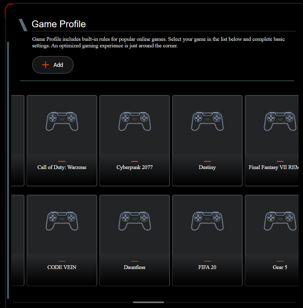 Setting up game profiles on an ASUS RT-AX82U router