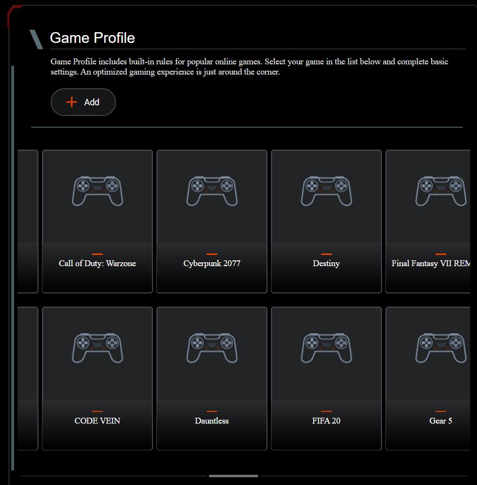 Configuración de perfiles de juego en un enrutador ASUS RT-AX82U