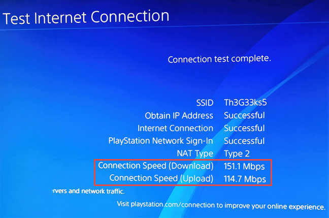 The Wi-Fi speed you get on a PlayStation 4