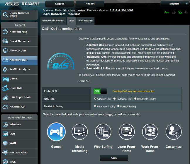 Priorizar juegos en un enrutador ASUS RT-AX82U