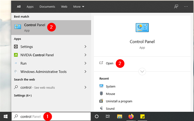 How to open Control Panel in Windows 10 using search