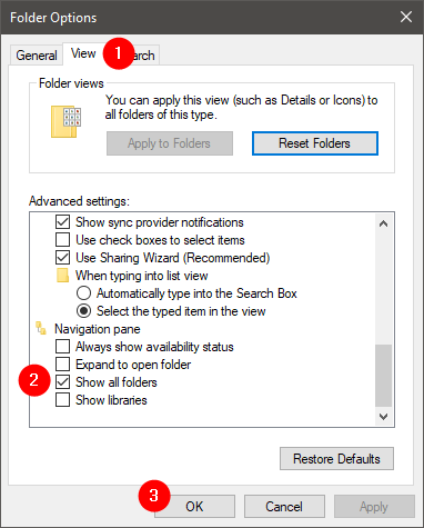 The Show all folders option from File Explorer's Folder Options