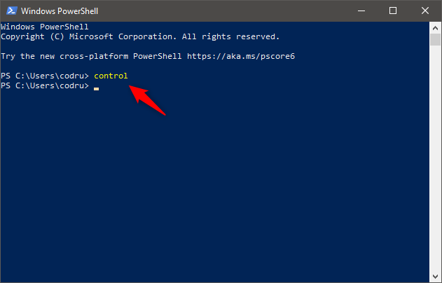 Using PowerShell to open Control Panel in Windows 10
