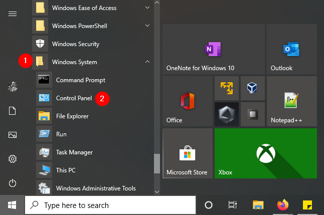 There's a Control Panel shortcut in Windows 10's Start Menu
