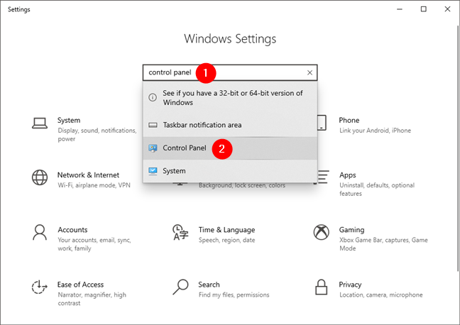 How to open Control Panel in Windows 10 using the search from Settings