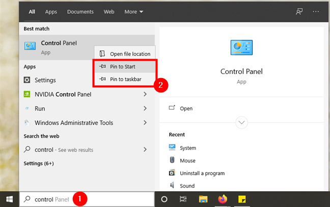 Pin a Control Panel shortcut to the Start Menu or the taskbar in Windows 10
